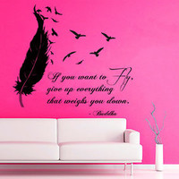 Wall Decals Buddha Quote Birds Flying Feather Vinyl Sticker Decal Decor KG717