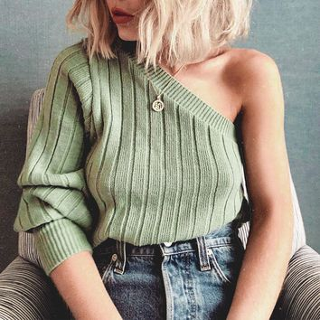 Sexy One Shoulder Sweaters Jumper Pullovers Knitted Sweater Solid Green Female Knitwear
