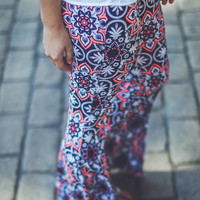 Abstract Floral Flares in Navy