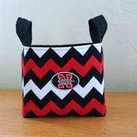 Medium Fabric Basket Storage Bin, University of Nebraska Huskers Chevron Black Red White