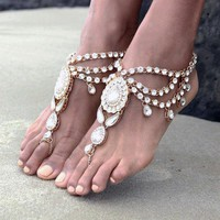 Luxury New Fashion Bridal Barefoot Sandals Wedding Shoes, Foot Jewellery  BEACH Crystal Rhinestone Anklet Charm Bracletet SC-175