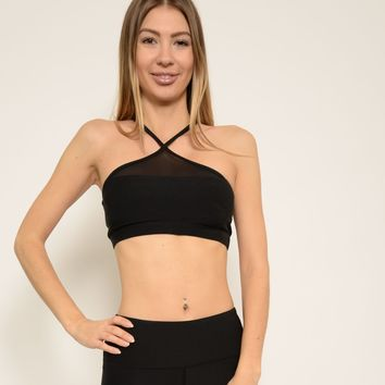 Ana Zabella Black Mesh Chris-Cross Straps Sports Bra