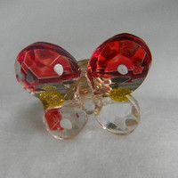 Red Butterfly Ring with Gold Band by jewelrysldesigns on Etsy