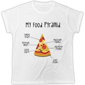 My Food Pyramid Pizza Tomato Pepperoni Cheese Crust Mushroom Pepper T-Shirt