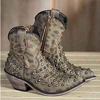 Women's Liberty Black Vintage Cheetah Leather Cowboy Boots