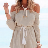 Causal Drawstring  Beach Romper B0014948