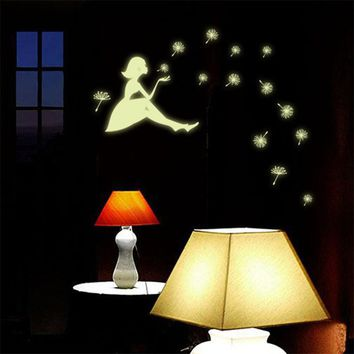 oujing Dandelion Girl Luminous Cartoon Wall Sticker Decal Home decor for kids rooms adesivos de parede poster