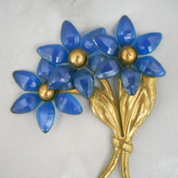 Vintage 1930s Celluloid Flower Brooch  - 1930s Blue Flower Pin