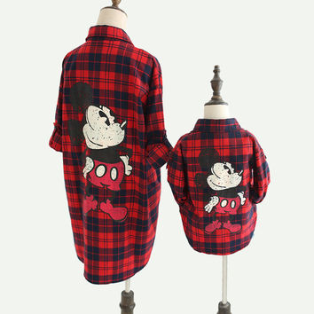 Mom Mother and Daughter Matching Clothes Family Clothing Plaid Baby T Shirts Dresses Mouse Sunscreen Blouse Mom Son Oufits