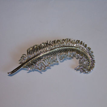 Vintage Coro Silver tone Feather Brooch Pin Lapel