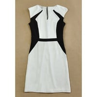 White V-Neck Sleeveless Knee-Length Dress