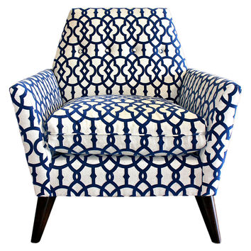 Porter Velvet-Print Chair, Navy/White, Accent & Occasional Chairs