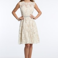 Lace Dress with Beaded Band and Satin Tie Back