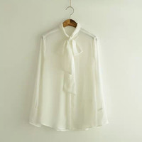 Bow Tie Neck Long-Sleeve Button Chiffon Blouse