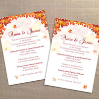 DIY Printable Wedding Invitation Card Template | Editable MS Word file | 5 x 7 | Instant Download | Red Orange Fall Leaves
