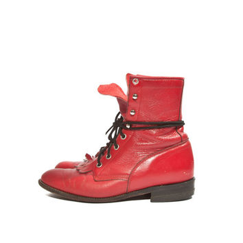 Vintage Red Justin Lace Up Roper Boots for a Women's Size 7 - 7 1/2 B