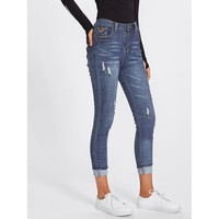 Irvine Roll Up Hem Ripped Jeans - Blue