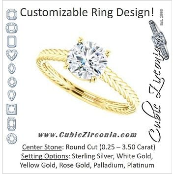 Cubic Zirconia Engagement Ring- The Florence (Customizable Cathedral-set Round Cut Solitaire with Vintage Braided Metal Band)