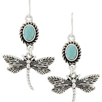 Turquoise Stone Dragonfly Earrings