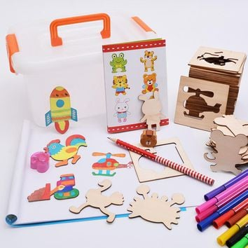 Wooden Multifunction Children Animal Drawing board set toys Learning Intelligence Education watercolor Painting Toys For Kids