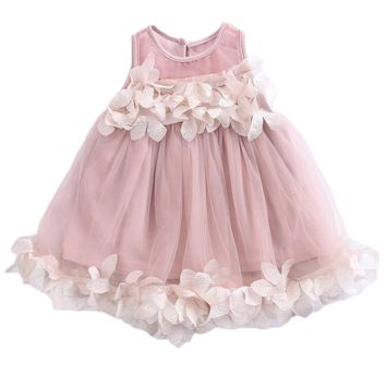 Summer 2017 Flower Kids Baby Girl Lace Princess Dress Bridesmaid Petal Tulle Party Formal Dress Dresses