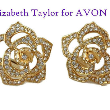 Elizabeth Taylor for AVON Earrings, Vintage Crystal Rose Clip-on Earrings, Signed Designer Jewelry, FREE SHIPPING