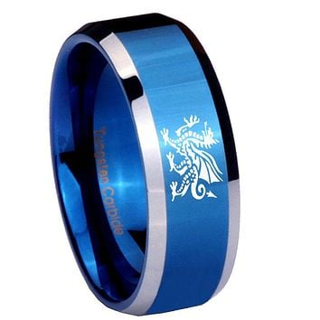 10mm Dragon Beveled Edges Blue 2 Tone Tungsten Carbide Custom Mens Ring
