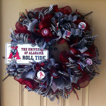 Deluxe Alabama ROLL TIDE Deco Mesh Wreath