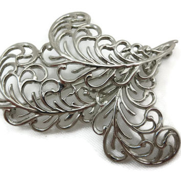 Art Nouveau Jewelry - Silver Feather Brooch, Costume Jewelry