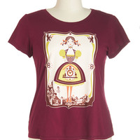 ModCloth Eco-Friendly Short Sleeves Clock Clock, Who's There? Tee in Plus