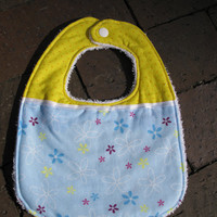 Baby Girl Bib - Yellow and Blue Floral