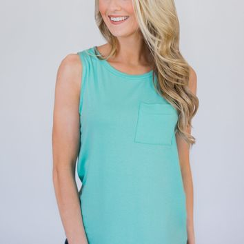Solid Pocket Tank Top - Aqua