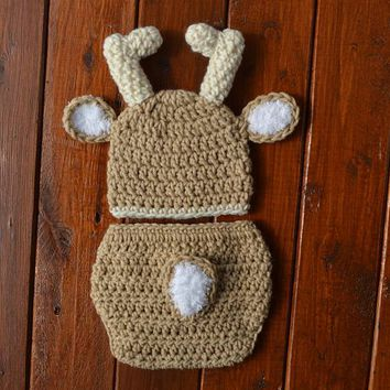 Crochet Baby Deer Outfit Newborn Deer Photo Prop Outfit