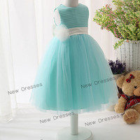 Tiffany Blue  Sleeveless Tulle Skirt Flower Girl Dress Puffy Dress/Toddler Dress/Baby Girl Dress/Christmas Dress/New Years Dress with Sash