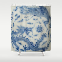 Damask vintage Monaco blue white girly ginger jar floral antique chinese dragon chinoiserie china Shower Curtain by iGallery | Society6
