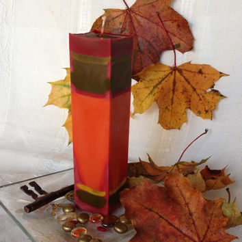 Fall colors soy pillar candle, Rustic orange, green and maroon  tall square pillar candle), scented with Berry Vanilla.