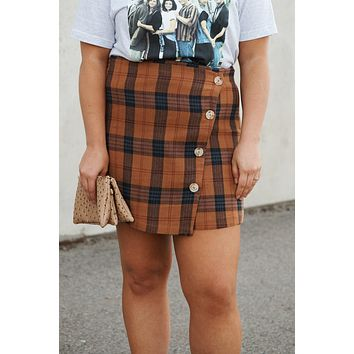 My Sweet Side Plaid Skirt (Rust Multi)