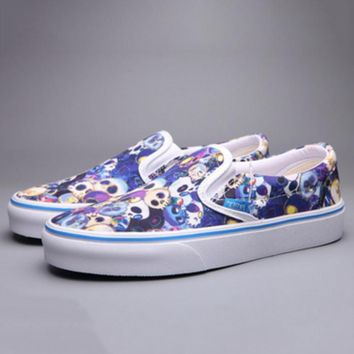 Vans Print Skull Flower Classic Canvas Leisure Shoes G-FEU-SY-1