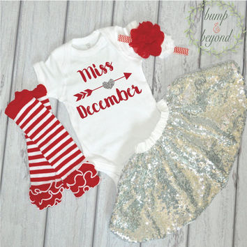 Birthday Girl Outfit One Miss December One Year Old Girl Birthday Outfit Bodysuit Headband Silver Sequin Skirt Candy Cane Leg Warmers 052