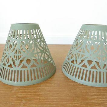 Two pierced metal candle lamp tealight lamp shades, sage green but paintable