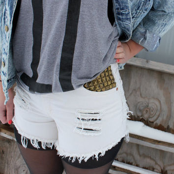High-Waisted Cream Shorts W/Studs