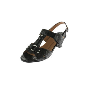 Mark Lemp Womens Lottie Embossed Leather T-Strap Sandals
