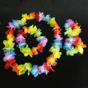 ONETOW New Brand Hawaiian Summer Fancy Dress Costume Hula Flower Lei Wristband Garland SET