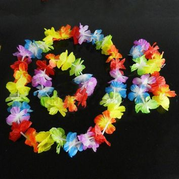 LMFON New Brand Hawaiian Summer Fancy Dress Costume Hula Flower Lei Wristband Garland SET