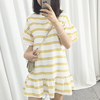 Kim lot Korean summer new girls line loose flounced simple college wind hit color sleeve head dress