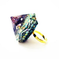Resin Prism Ring Adjustable Mineral Big Crystal Glitter Diamond Kaleidoscope Valentine Teal Green Gold Pink Orange Iridescent Blue Oversized