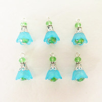 6 Pcs. Lucite Flower Charms - Blue Flower Cap Charms - Green Crystal Beads - Handmade DIY Jewelry Parts / Supplies - Sky Blue Flower Beads