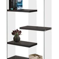 """Bookcase - 60""""H / Cappuccino With Tempered Glass"""
