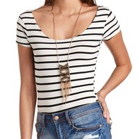 DOUBLE SCOOP SHORT SLEEVE STRIPED BODYSUIT