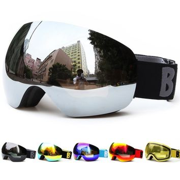 Professional Big Frame Ski Goggles Double Lens UV400 Anti-fog Adult Snowboard Skiing Glasses Snow Eyewear for Women Men